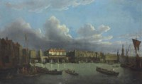 An extensive view of the Thames and the city of London with old London Bridge from the East, the church of St. Magnus and the Monument beyond