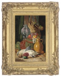 The day's bag; and Apples, grapes, plums, a pumpkin and jug on a wooden bench