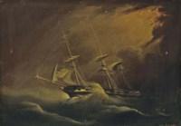 A merchantman running before the gale