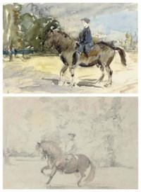 Two views of John Bunbury on horseback