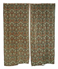 TWO PAIRS OF WOOL CURTAINS