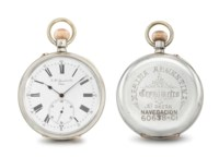 Jaccard & Cie. A rare and unusual silver openface keyless lever deck watch, supplied to the Argentine Navy