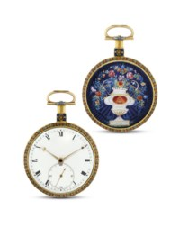 Ilbery, London  Fine and rare gold and enamel openface manually-wound pocket watch, made for the Chinese Market