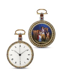 Ilbery, London  Very fine and rare gold and enamel openface manually-wound centre seconds duplex watch, made for the Chinese Market, enamel in the manner of Richter