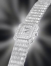 VACHERON CONSTANTIN. A SPECTACULAR AND IMPRESSIVE 18K WHITE GOLD AND DIAMOND-SET RECTANGULAR WRISTWATCH WITH BRACELET