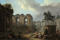 A Roman capriccio with washerwomen by the Statue of Marcus Aurelius