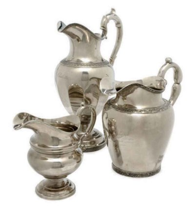 THREE AMERICAN SILVER PITCHERS