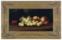 Still life of cherries, grapes and peaches on a forest floor; and a companion still life