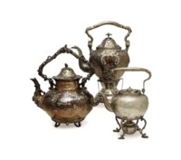 THREE AMERICAN SILVER TEAPOTS WITH HINGED COVERS,