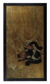 A FRENCH LACQUER PANEL DEPICTING RED FOXES,
