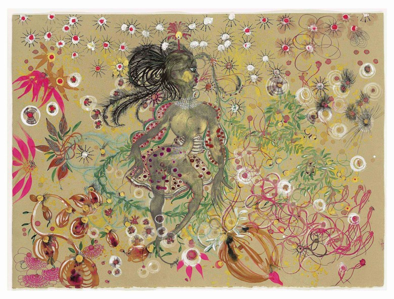 Rina Banerjee (b. 1963), A World Made of Nature Created her Untidy Beauty, Captured her Makers Eye but not Once but Thrice Culture who Played her a Fool, Maimed her Walk and Unsweetened her Magic, executed in 2008. Ink, acrylic and mica on paper. 21¾ x 29¾  in (55.3 x 75.7  cm). Sold for $18,750 on 13 September 2011 at Christie's in New York