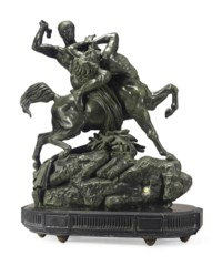 A LARGE FRENCH PATINATED BRONZE FIGURAL GROUP ENTITLED 'THESEE COMBATTANT LE CENTAURE BIENOR' (THESEUS BATTLING THE CENTAUR BIENOR)