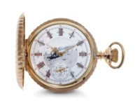 Illinois Watch.  A Fine And Rare 14k Gold Hunter Case Keyless Lever Pocket Watch With Enamel Dial With Steamship