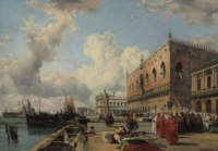 The Ducal Palace, Venice, with a religious procession