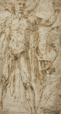 A standing male nude with subsidiary studies of a male figure (recto); A fragmentary study of a child and a standing figure