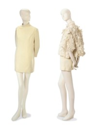 A CHRISTIAN DIOR IVORY ORGANDY EVENING JACKET AND AN IVORY WOOL JERSEY TUNIC DRESS