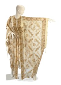 A THEA PORTER CREAM CHIFFON SEQUINNED AND EMBROIDERED CAFTAN WITH MATCHING TIE BELT
