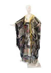 A TULIP PRINTED CHIFFON CAFTAN WITH MATCHING TIE BAND