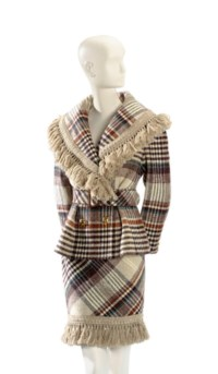 A VALENTINO BROWN AND BEIGE WOOL PLAID SUIT