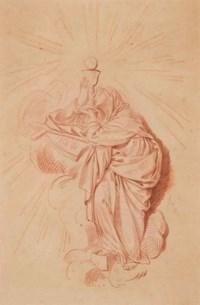 Une sainte adorant un calice surmonté d'une hostie
