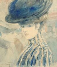 Portrait de femme au chapeau bleu