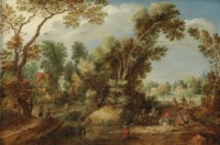 A wooded landscape with peasants and travellers on a path, a village beyond