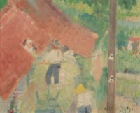 Paysans entrant le foin par la lucarne du grenier, Watermael