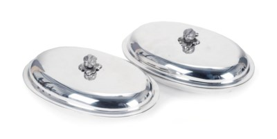A pair of American silver oval