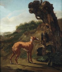 A greyhound by a willow in a landscape