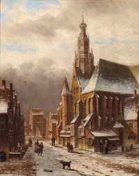 A view of a Dutch town in winter