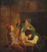 Three men smoking in an interior