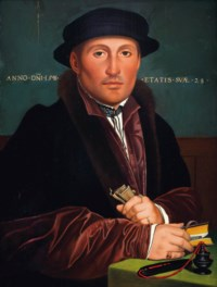 Portrait of a gentleman, half-length, in a red and black furlined coat with a black hat, holding a book and a piece of paper