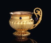 A JEWELLED GOLD CUP