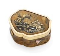 A FRENCH GOLD-MOUNTED HARDSTONE AND BURGAU SNUFF-BOX