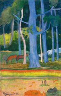 Paysage aux troncs bleus