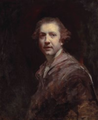 Portrait of the artist, half-length, in a lilac coat