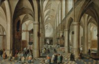 Interior of a Gothic cathedral with figures