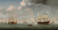 A 70-gun Royal Naval two decker, a small merchantman, a Dutch galliot and other shipping, on calm waters