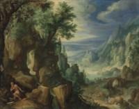 Saint Jerome praying in a rocky landscape