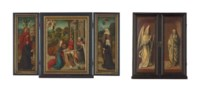A triptych: Centre panel: The Adoration of the Shepherds; Inner wings: Saint John the Baptist with a male donor, traditionally identified as Jean Mercier d'Artois; and Saint Elisabeth of Hungary with a female donor, traditionally identified as Elisabeth Escobecque de Brabant; Outer wings: The Annunciation