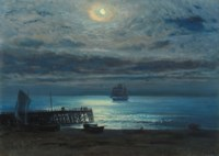 Ship on a moonlit sea - Yarmouth Jetty