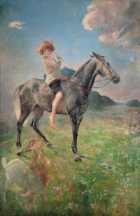 Equestrian portrait of Lady Mercy Marter, daughter of Frances, Countess of Warwick