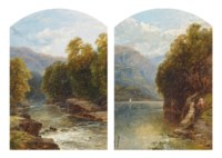 Figures on a path by a lake; and A wooded stream