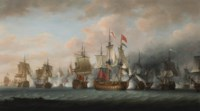 Admiral Rodney's flagship H.M.S. Formidable, 98-guns, breaking the line, at the beginning of the Battle of the Saintes, 12th April 1782