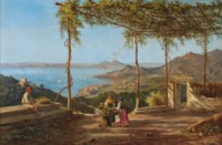Grape pickers above Sorrento, Vesuvius beyond