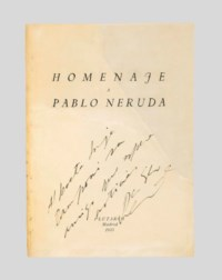 NERUDA, Pablo (1904-1973). Homenaje a Pablo Neruda. [Tres Cantos Materiales.] Madrid: Plutarco, 1935. 8° (228 x 165mm). (Title with large repair and some facsimile evidently pre-dating the inscription, two bifolia silked at the fold.) Original cream wrappers printed in black (stitching removed, repaired at the fold, some soiling and spotting); black morocco case by Cambras, the sides inlaid with variously-coloured morocco, this case protected in a green cloth clamshell case. Provenance: Pablo Neruda (presentation inscription to:) -- Jorge Ramponi (1907-1977, poet).