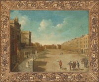 View of New Palace Yard, Westminster, with elegantly dressed figures in the foreground