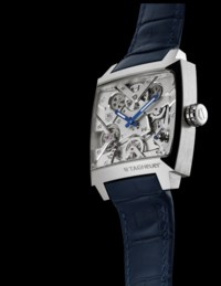 TAG HEUER. A FINE AND RARE PLATINUM LIMITED EDITION AUTOMATIC SKELETONIZED WRISTWATCH