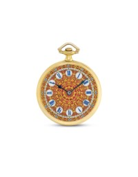 TOUCHON. A FINE 18K GOLD OPENFACE KEYLESS LEVER DRESS WATCH WITH HIGHLY DECORATIVE DIAL