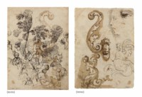 Studies of trees, a mother and child, other women, and figures kneeling forward (recto), Studies of a harpy, a scroll design, a profile and an eye (verso)